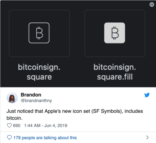 Apple Bitcoin Sign